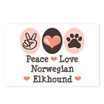 Peace Love Norwegian Elkhound Postcards (Package o