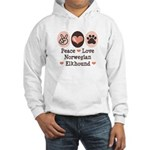 Peace Love Norwegian Elkhound Hooded Sweatshirt
