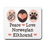 Peace Love Norwegian Elkhound Mousepad