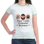Peace Love Norwegian Elkhound Jr. Ringer T-Shirt