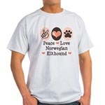 Peace Love Norwegian Elkhound Light T-Shirt
