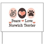 Peace Love Norwich Terrier Yard Sign