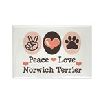 Peace Love Norwich Terrier Rectangle Magnet (100 p