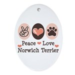 Peace Love Norwich Terrier Oval Ornament