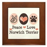 Peace Love Norwich Terrier Framed Tile