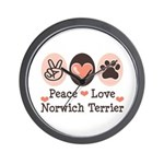 Peace Love Norwich Terrier Wall Clock
