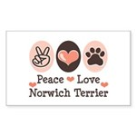 Peace Love Norwich Terrier Rectangle Sticker