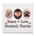 Peace Love Norwich Terrier Tile Coaster