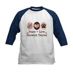Peace Love Norwich Terrier Kids Baseball Jersey