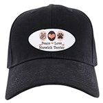Peace Love Norwich Terrier Black Cap