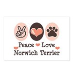 Peace Love Norwich Terrier Postcards (Package of 8