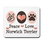 Peace Love Norwich Terrier Mousepad