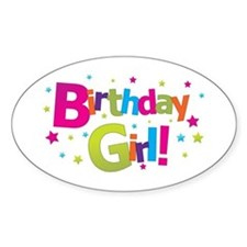 birthday girl coloful Oval Decal