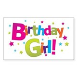 birthday girl coloful Rectangle Decal