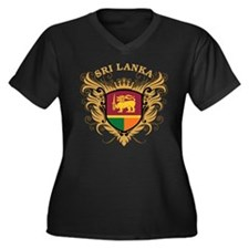 Sri Lanka Women's Plus Size V-Neck Dark T-Shirt