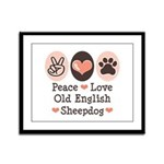 Peace Love Old English Sheepdog Framed Panel Print