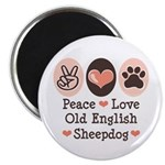Peace Love Old English Sheepdog Magnet