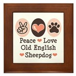 Peace Love Old English Sheepdog Framed Tile