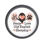 Peace Love Old English Sheepdog Wall Clock