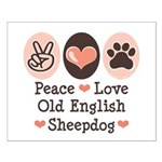 Peace Love Old English Sheepdog Small Poster