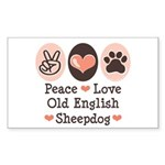 Peace Love Old English Sheepdog Sticker (Rectangul
