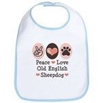 Peace Love Old English Sheepdog Bib