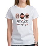 Peace Love Old English Sheepdog Women's T-Shirt
