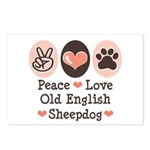 Peace Love Old English Sheepdog Postcards 8 Pk
