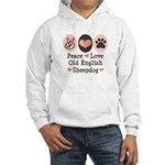 Peace Love Old English Sheepdog Hooded Sweatshirt