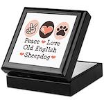 Peace Love Old English Sheepdog Keepsake Box