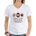 Peace Love Old English Sheepdog Women's V-Neck T-S
