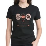 Peace Love Old English Sheepdog Women's Dark T-Shi