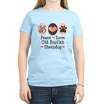 Peace Love Old English Sheepdog Women's Light T-Sh