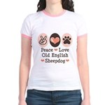 Peace Love Old English Sheepdog Jr. Ringer T-Shirt