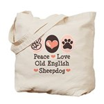 Peace Love Old English Sheepdog Tote Bag