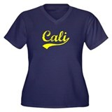 Vintage Cali (Gold) Women's Plus Size V-Neck Dark