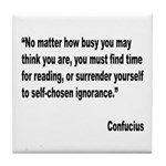 Confucius Reading Quote Tile Coaster