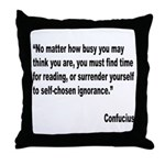 Confucius Reading Quote Throw Pillow