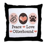Peace Love Otterhound Throw Pillow