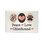 Peace Love Otterhound Rectangle Magnet (10 pack)