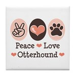 Peace Love Otterhound Tile Coaster