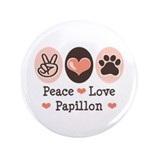 "Peace Love Papillon 3.5"" Button (100 pack)"