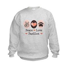 Peace Love Papillon Kids Sweatshirt
