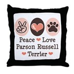 Peace Love Parson Russel Terrier Throw Pillow