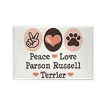 Peace Love Parson Russel Terrier Rectangle Magnet