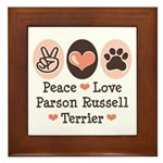Peace Love Parson Russel Terrier Framed Tile