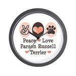 Peace Love Parson Russel Terrier Wall Clock