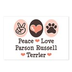 Peace Love Parson Russel Terrier Postcards (Packag