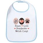 Peace Love Pembroke Corgi Bib