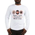 Peace Love Pembroke Corgi Long Sleeve T-Shirt